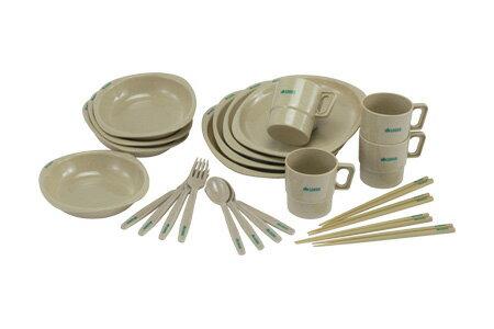 【露營趣】中和 LOGOS LG81285003 四人份餐具組 露營餐具 環保餐具 筷子 叉子 杯子 湯匙 盤子 碗