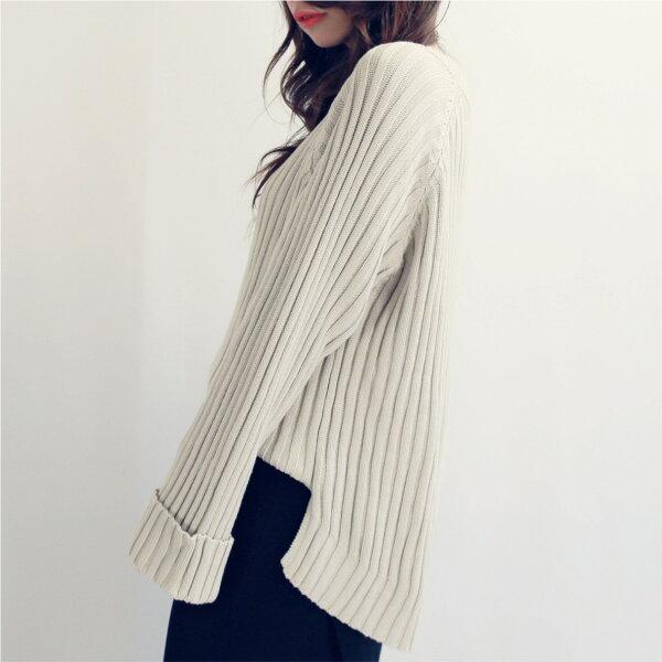 Budodo 布朵朵:簡約長袖針織毛衣(米色)-布朵朵