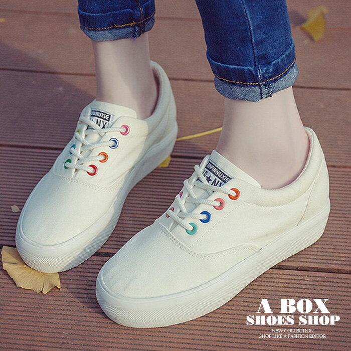 【AA217】繫帶低筒帆布鞋 / 布面鞋 小白鞋 3CM厚底 彩色鞋帶孔 基本款百搭 2色 0