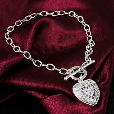 925純銀手鍊 鑲鑽手環 ~唯美愛心 氣質母親節生日情人節 女 73av172~ ~~米蘭