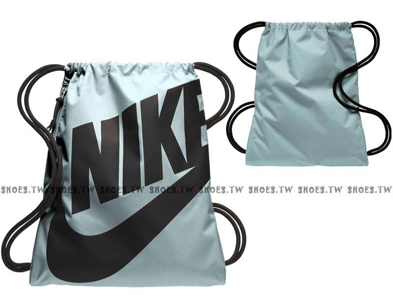 Shoestw【BA5351-413】NIKE MISC 束口袋 側拉鍊 鞋袋 輕便袋 淡藍黑 大字款