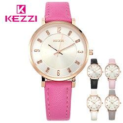 KEZZI珂紫 K-1595 氣質鑲鑽玫瑰金刻度美氛女錶