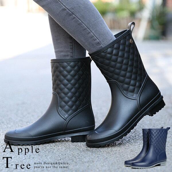 蘋果樹AppleTree:AT日韓-雨時代格紋假車線中筒雨靴,雨鞋2色【S706002】
