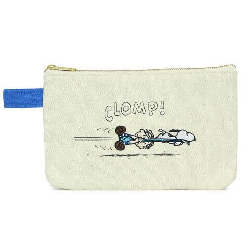奔跑款【日本進口正版】史努比 Snoopy 帆布 扁型 筆袋 鉛筆盒 收納袋 PEANUTS - 830965