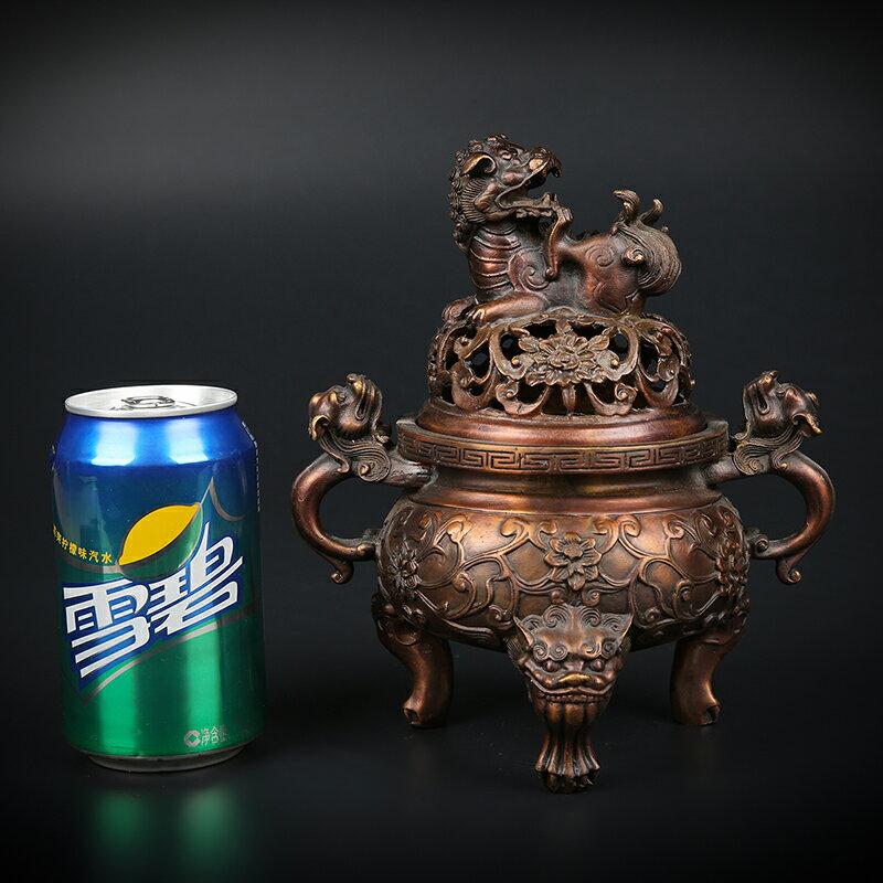 匠澤銅魂紫銅香爐純銅大明獅子爐家用室內焚香靜心沉香檀香熏香爐