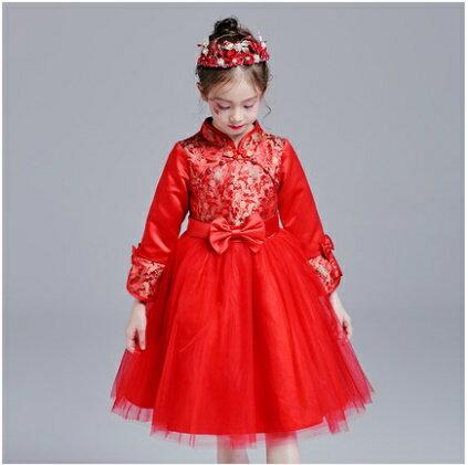天使嫁衣:天使嫁衣【童C0101】紅色中式立領長袖拜年喜慶女童小禮服˙預購訂製款