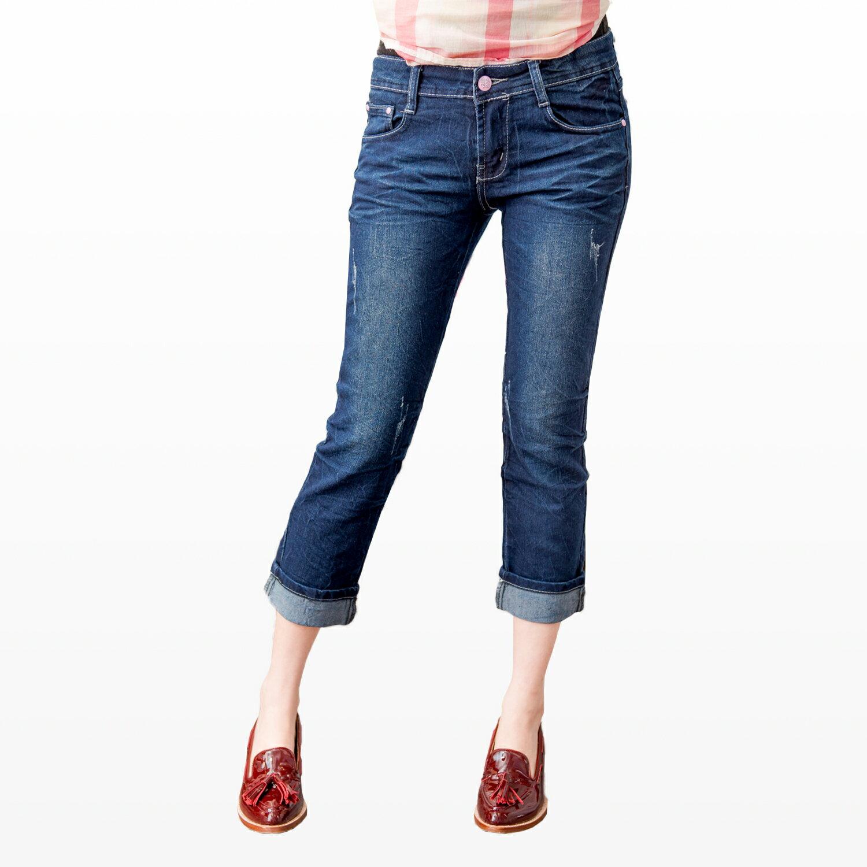 牛仔褲--蕾絲滾條繡線復古刷色魚紋九分 / 反折七八分小直筒牛仔褲(M-7L)-S74眼圈熊中大尺碼 1