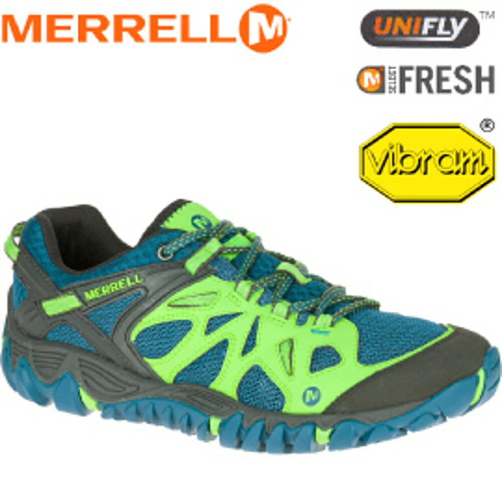 【MERRELL 美國 男款 ALL OUT BLAZE AERO SPORT 藍/綠】ML35577/越野鞋/休閒鞋/登山鞋/運動鞋/健行