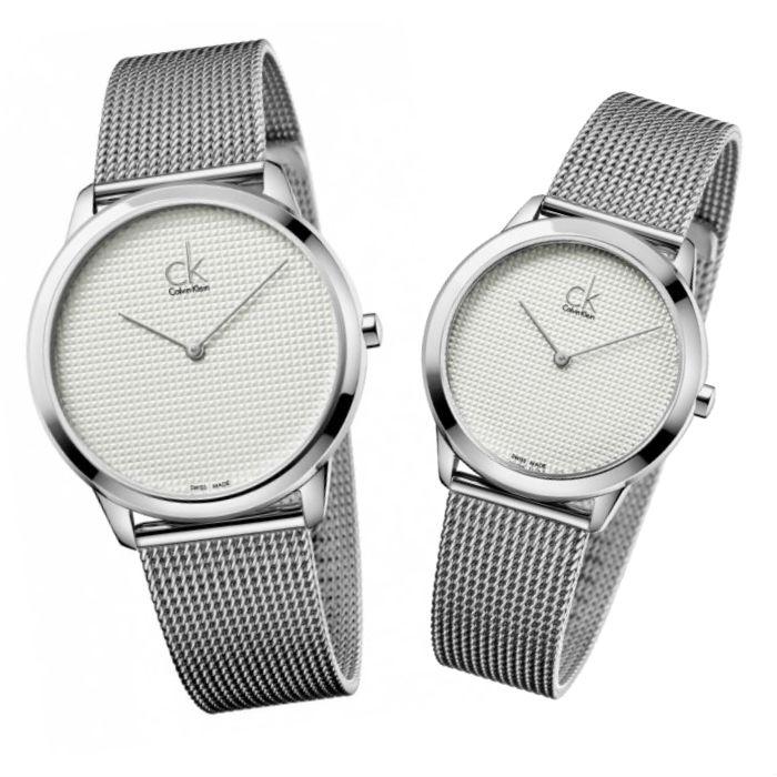CK 卡文克萊 MINIMAL(K3M2112Y+K3M2212Y)量子米蘭帶簡約時尚腕錶 / 白面40+35mm - 限時優惠好康折扣