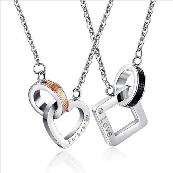 糖衣子輕鬆購【DZ0312】韓國時尚潮流新型方形吊墜鈦鋼情侶項鍊對鍊飾品情人節禮物