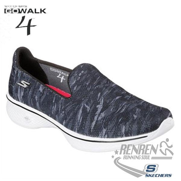 SKECHERS 女健走鞋GO Walk 4 (黑灰) 懶人鞋 運動鞋