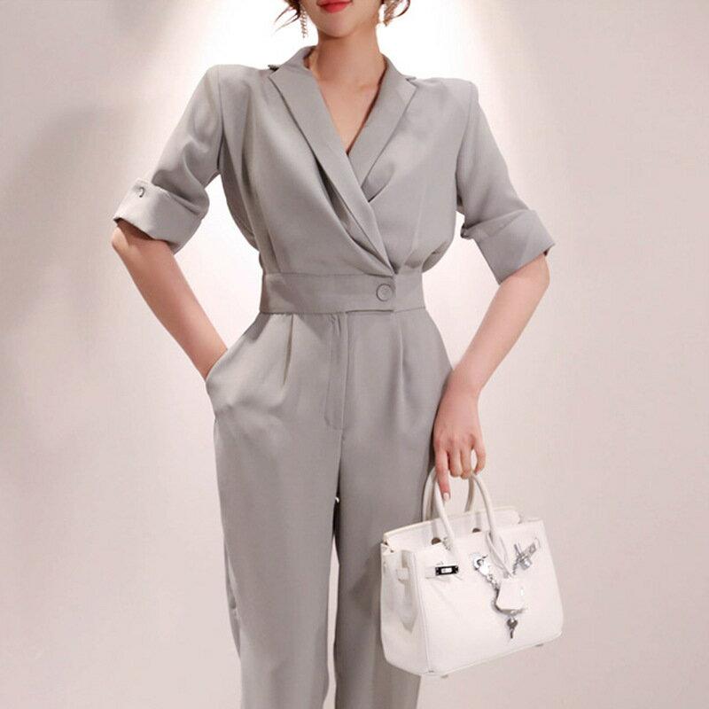 女裝2021韓版名媛修身西裝領收腰中袖顯瘦輕熟風連體褲