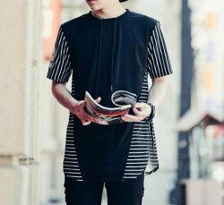 FINDSENSE MD 韓國 潮 男 嘻哈 街頭時尚 拼布細條紋後背字母印花 另類 夜店DJ發型師 短袖T恤 特色短T