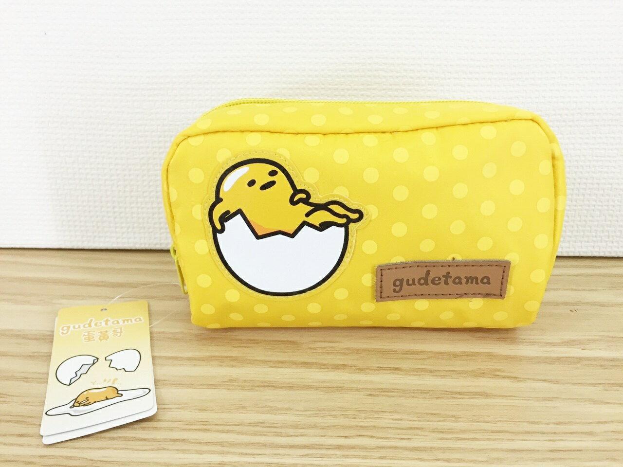 【真愛日本】16011600002方化妝包-蛋黃哥   Gudetama 三麗鷗 收納袋 化妝包 筆袋
