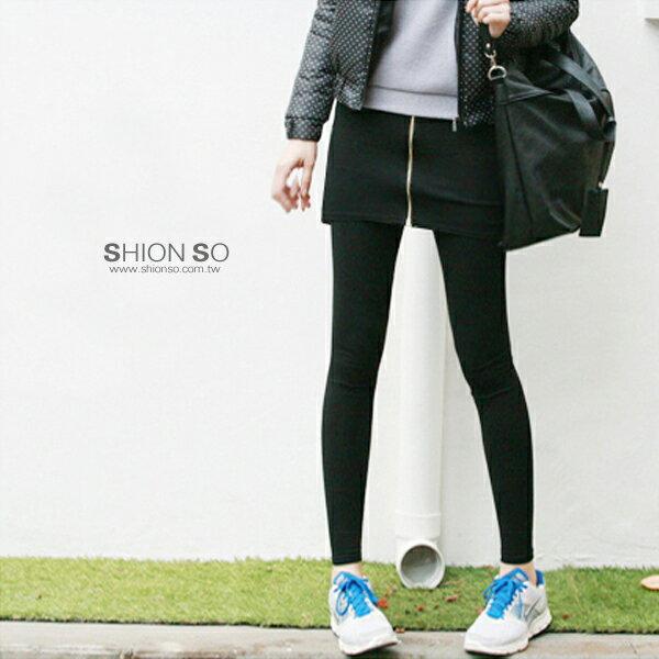 享瘦衣舍中大尺碼【B2034】假兩件式短裙拼接拉鍊設計內搭褲