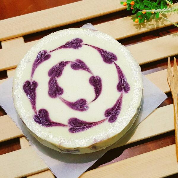 【藍莓重乳酪蛋糕6吋】手工藍莓果醬、杏仁餅乾底