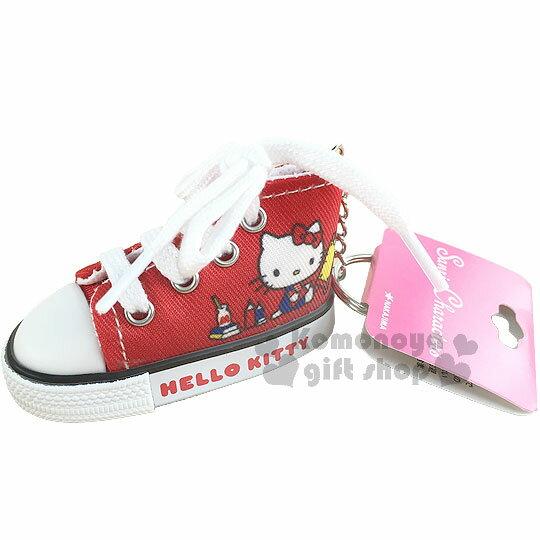 〔小禮堂〕Hello Kitty 帆布鞋造型鑰匙圈《紅.坐姿.鉛筆.鬧鐘》