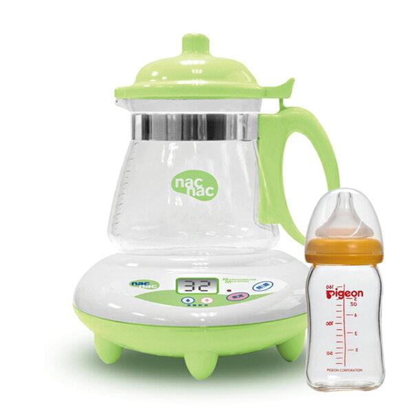 【奇買親子購物網】NacNac微電腦調乳器TM-602+貝親PIGEON寬口母乳實感玻璃奶瓶160ml橘