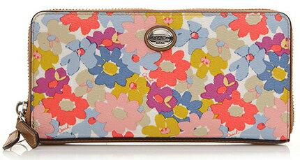 【限量特價】COACH F51129 時尚花朵女包手拿包長夾 SV/MC花朵