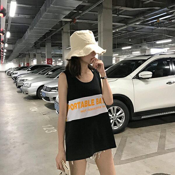 PS Mall 顯瘦撞色字母印花無袖背心【T562】 1