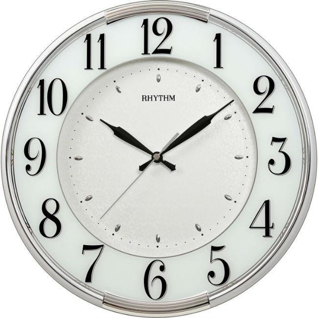 大高雄鐘錶城 RHYTHM 麗聲鐘(CMG527) 貝殼印紋圓形玻璃烤漆掛鐘/ 33.8cm