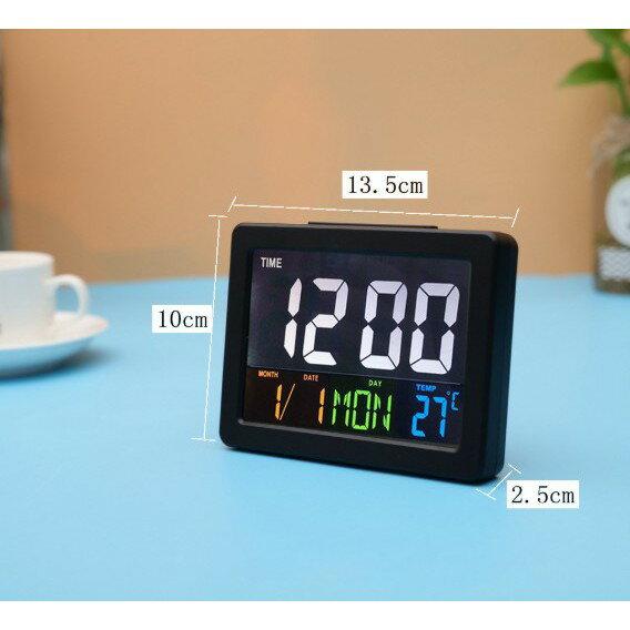 LCD彩色大螢幕電子時鐘 簡約全功能音樂兒童日期溫度鬧鐘