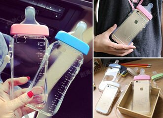 創美[A093] 可愛 造型 奶瓶 奶嘴 矽膠 透明 TPU 防摔 IPhone 6 6S Plus IPhone5S 4S OPPO R7 R7+ 手機殼 保護殼
