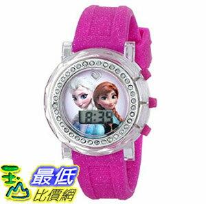 [107美國直購] 兒童手錶 Disney Kids FZN3580 Frozen Anna and Elsa Flashing-Dial Watch with Glitter Pink Rubber..