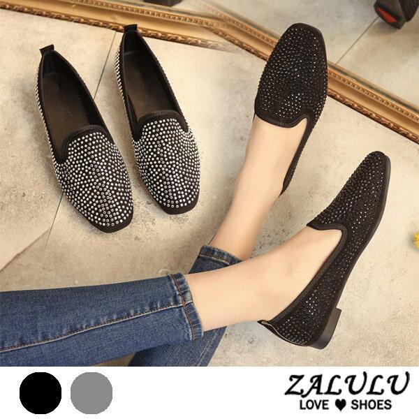 ZALULU愛鞋館 7CE027 預購 儬妹潮流特色鉚釘平底包鞋-偏小-黑/銀-36-40