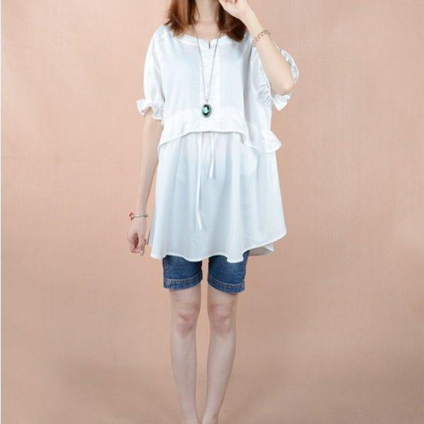 *漂亮小媽咪*純色棉麻泡泡袖棉麻孕婦裝孕婦上衣孕婦長版上衣洋裝連身裙娃娃裝襯衫 GS9800