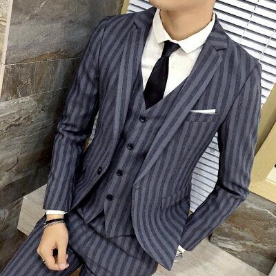 西裝外套西服套裝(三件套)-復古撞色線條造型面試男裝2色73hc35【獨家進口】【米蘭精品】