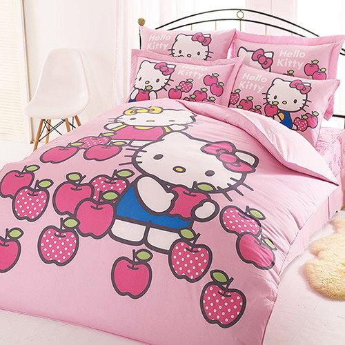 【享夢城堡】精梳棉雙人加大床包薄被套四件式組-HELLOKITTY採蘋果-粉