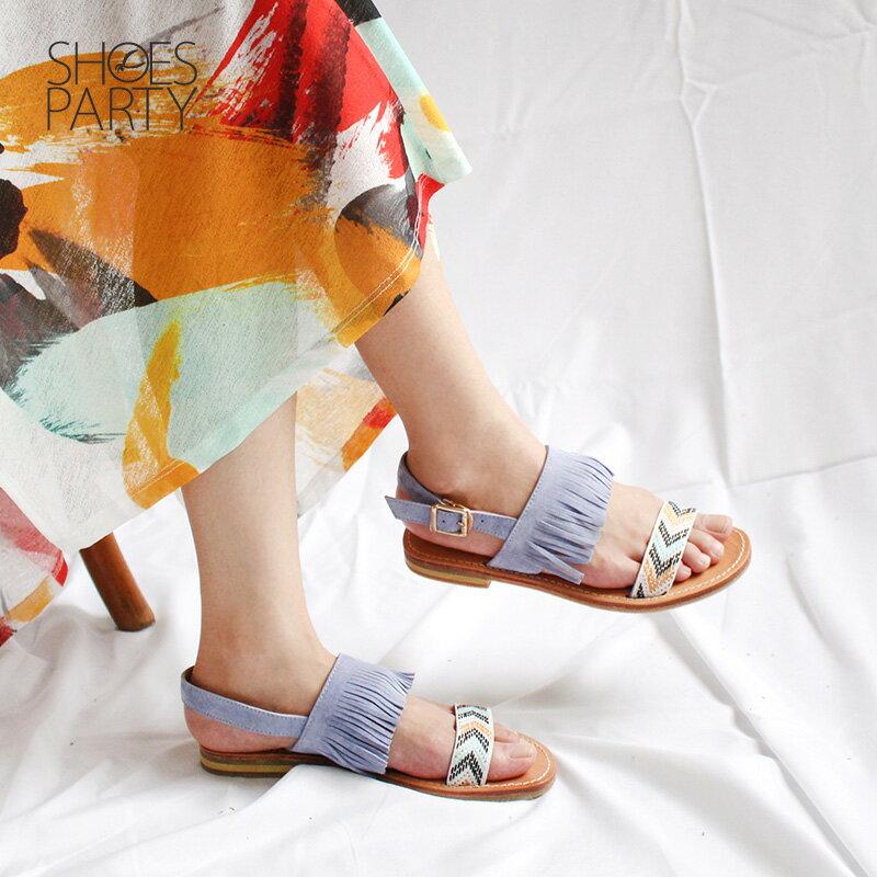 【S2-18508L】度假必備-民俗風流蘇真皮底涼鞋_Shoes Party 1