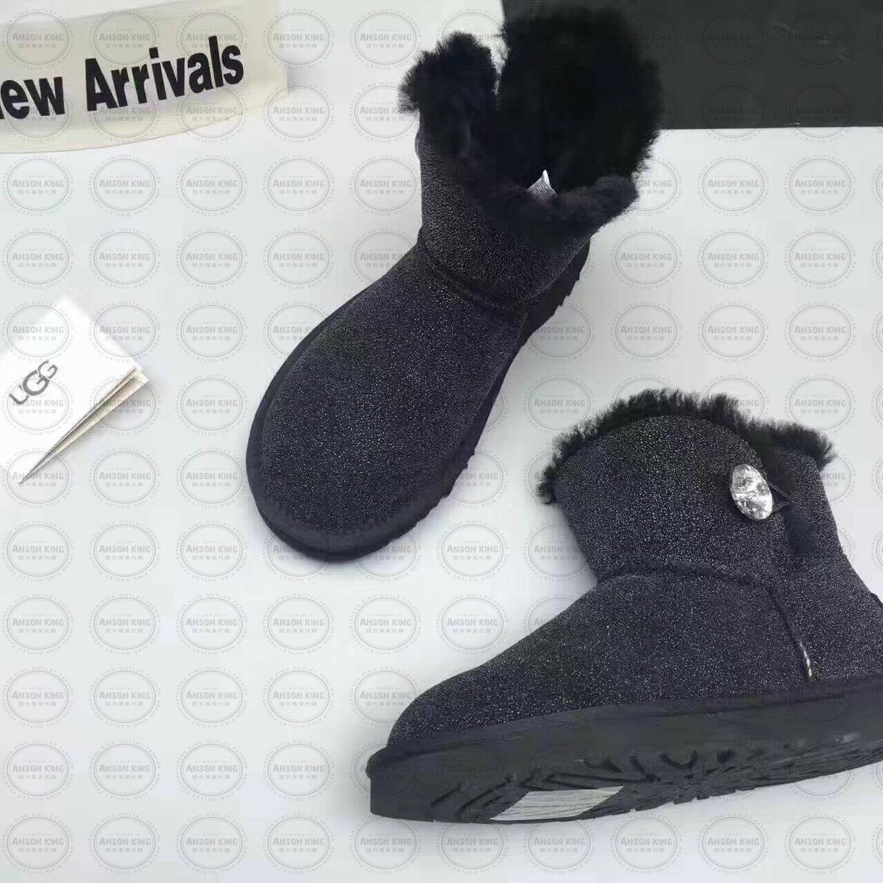 OUTLET正品代購 澳洲 UGG 明星同款水晶扣短靴 保暖 真皮羊皮毛 雪靴 短靴 藍色 0