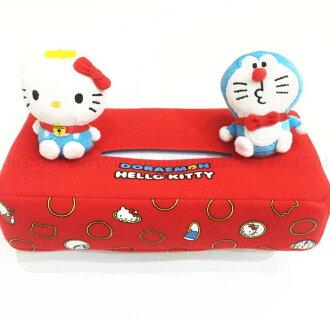 哆啦A夢 小叮噹 KITTY 聯名 面紙套 絨布 玩偶造型 居家 正版日本製造進口 限定販售 * JustGirl *