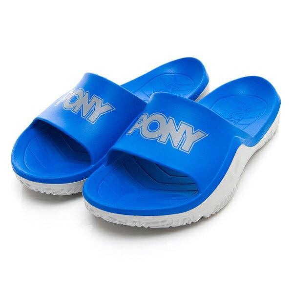《超軟Q防水拖》Shoestw【92U1FL07RB】PONY PARK-X 防水拖鞋 海灘拖鞋 軟Q 拖鞋 寶藍灰 男生尺寸 0