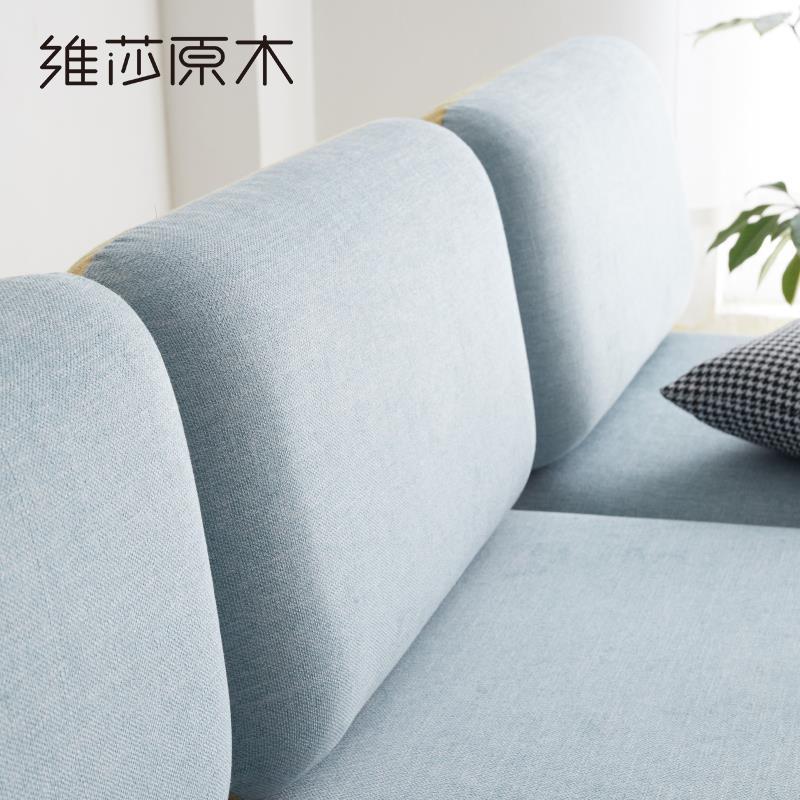 北歐全實木沙發簡約現代客廳橡木棉麻布藝組合創意環保家具♠極有家♠