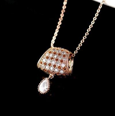 玫瑰金項鍊 水晶純銀吊墜~精緻鑲鑽奢華典雅生日情人節 女飾品73dw11~ ~~米蘭 ~