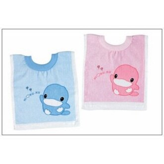 【寶貝樂園】KUKU毛巾布套頭圍兜(藍/粉)