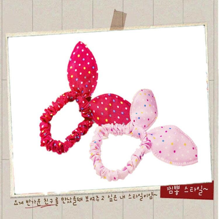 韓版 兔耳朵髮圈--小圓點款AC1002  日韓/髮飾/頭飾/綁髮/髮帶/可愛/王子與公主