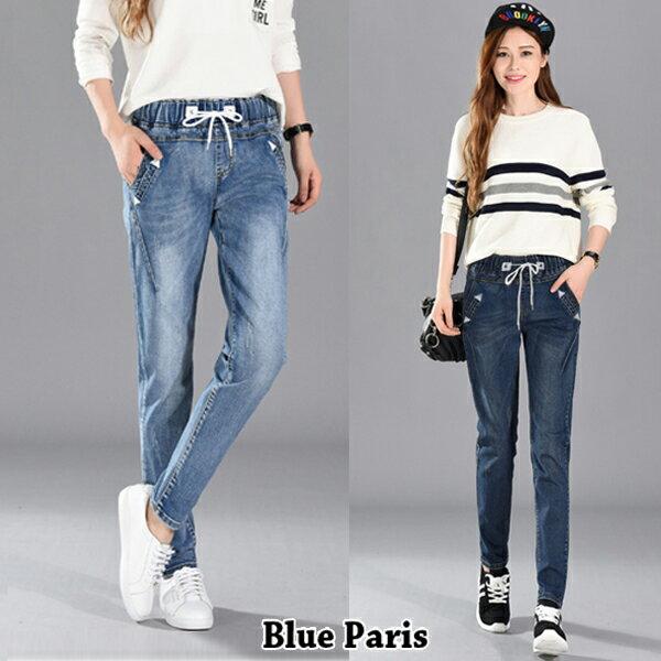 牛仔長褲 鬆緊綁帶刷白哈倫單寧窄管褲 小腳褲 鉛筆褲 ~23319~藍色巴黎~2色:S^~