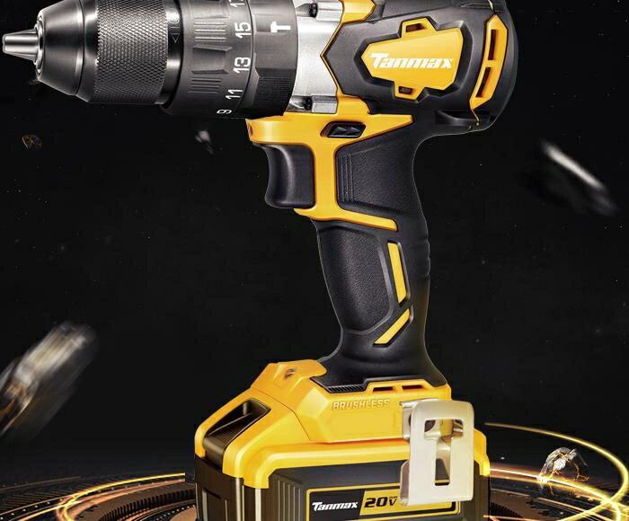 手電鑽 天邁20V無刷大扭矩鋰電鑽充電手電鑽沖擊鑽工業級電動工具螺絲刀  !~`