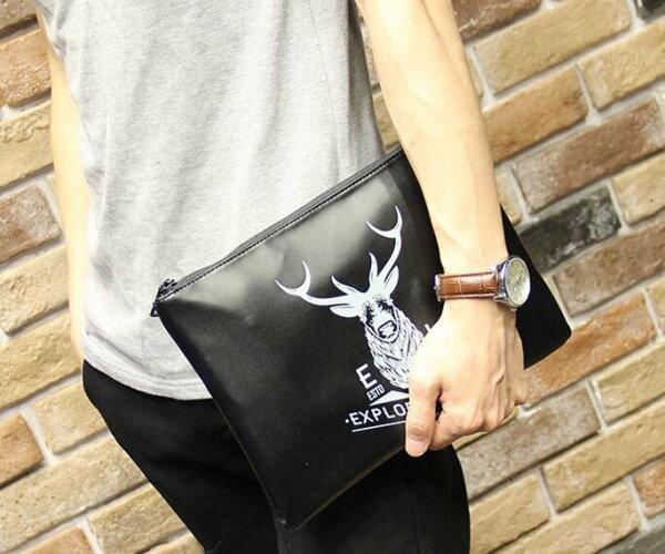 FINDSENSEZ1韓國時尚潮男皮質鹿頭圖案商務休閒手提包手拿包皮夾包公事包側背包