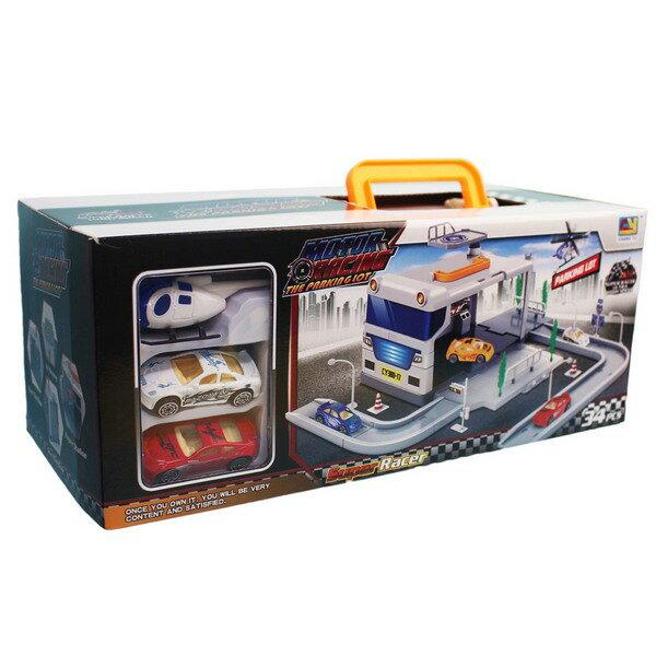 警車收納盒停車場CY380-17汽車立體停車場一盒入{促500}內附3台車~睿CY380-16
