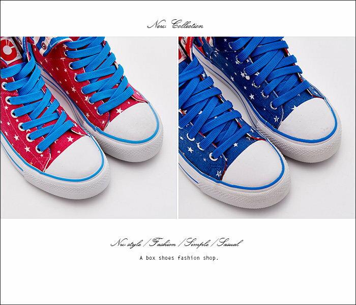 ★全店免運★格子舖*【KB808】MIT台灣製 青春校園可愛星星撞色條紋 高筒綁帶帆布鞋 2色 2