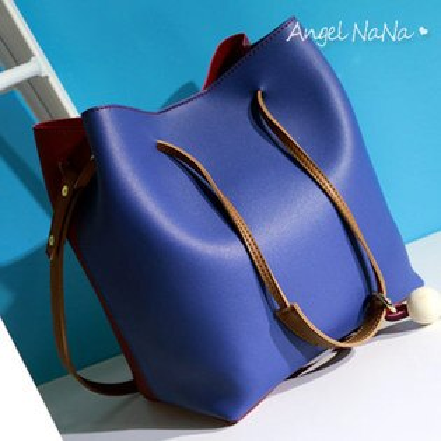 AngelNaNa:側背包-韓雙色二件式子母包女水桶包斜背包AngelNaNa【BA0220】