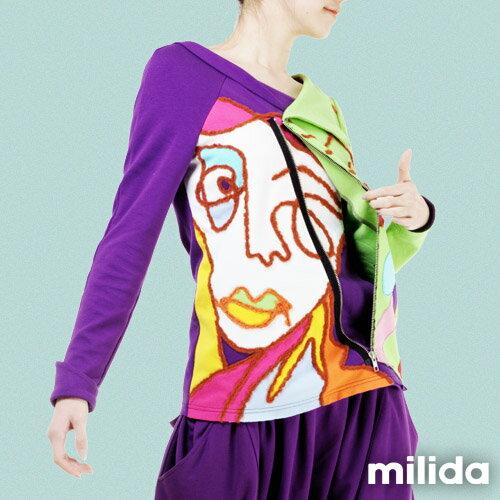 【Milida,全店七折免運】-秋冬單品-上衣款-人物插畫藝術拉鍊款 5