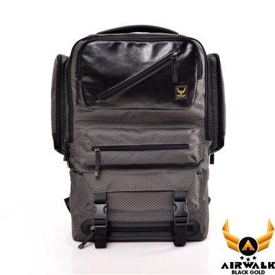 AIRWALK - 【禾雅】頂級黑金皮標 閃靈系列 菱格雙料皮感箱型機器人 超大容量 後背包 - 閃靈灰