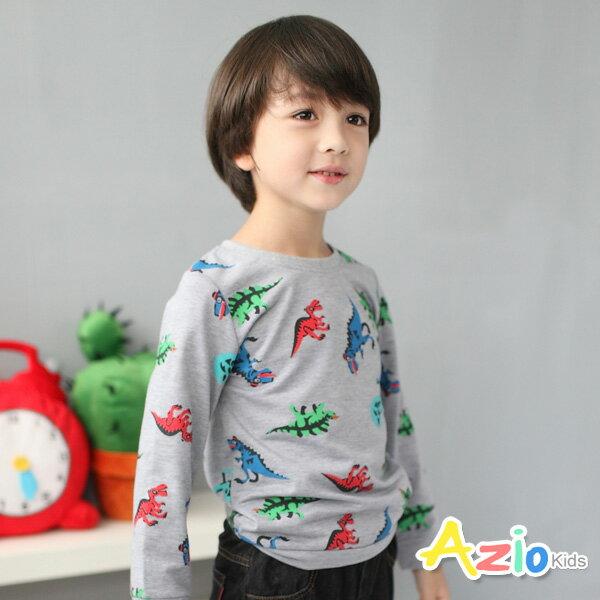 Azio Kids美國派:《AzioKids美國派童裝》上衣多彩恐龍縮口長袖T恤(灰)
