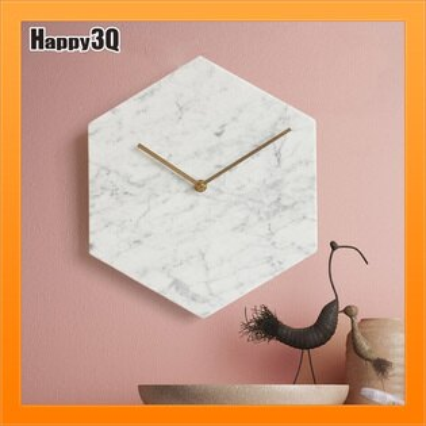 裝飾時鐘現代簡約北歐創意客廳天然大理石掛鐘個性地中海靜音壁鐘-白綠黑【AAA4537】